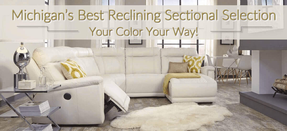 Leather Furniture On Sale; Reclining Chaise Leather Sectional ...