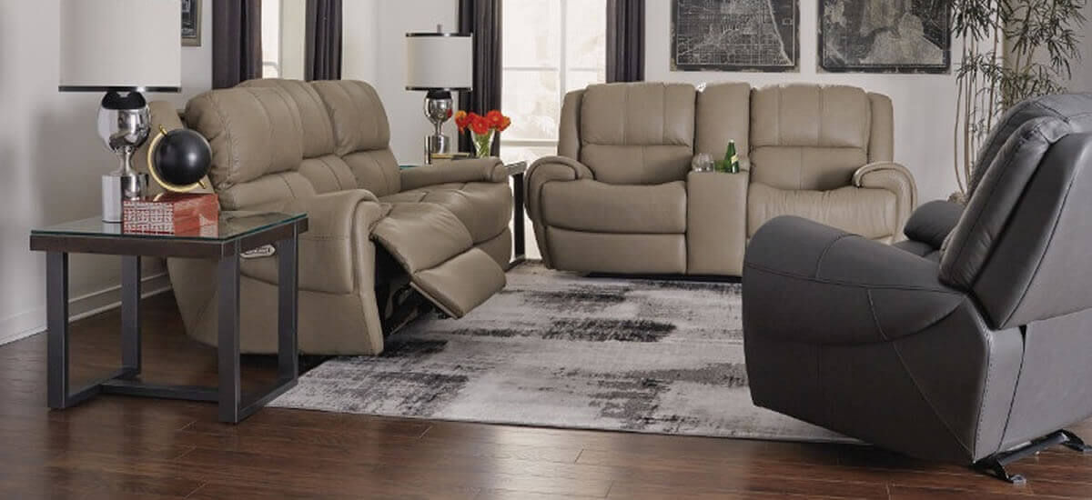taupe leather reclining sofas