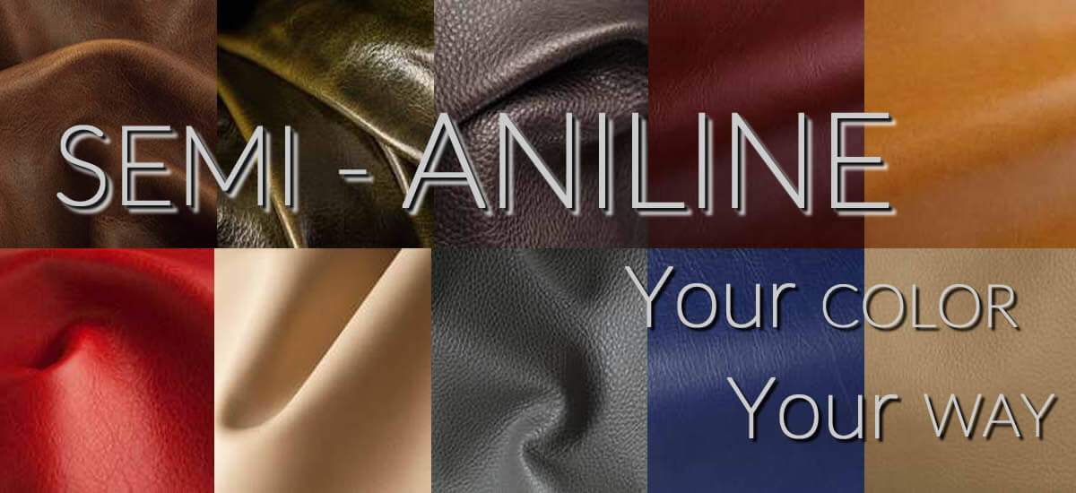 semi aniline leather sofas