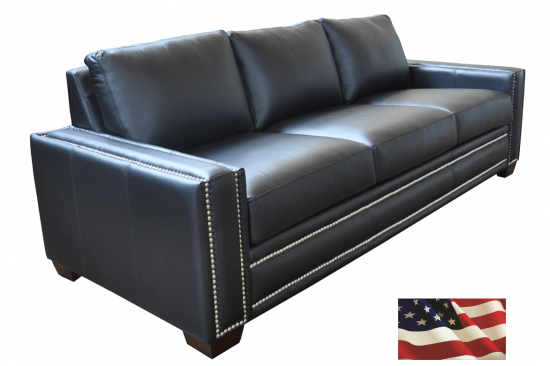 Black-blue-leather-sofa-natural-leather-nailheads-usa