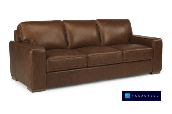 brown-leather-flexsteel-sofa