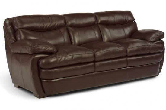 flexsteel-brown-leather-sofa