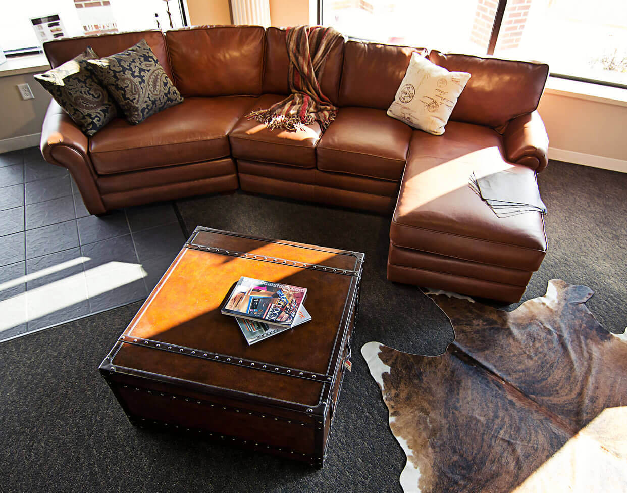 Stupendous Leather Sectional With Cuddler Caraccident5 Cool Chair Designs And Ideas Caraccident5Info