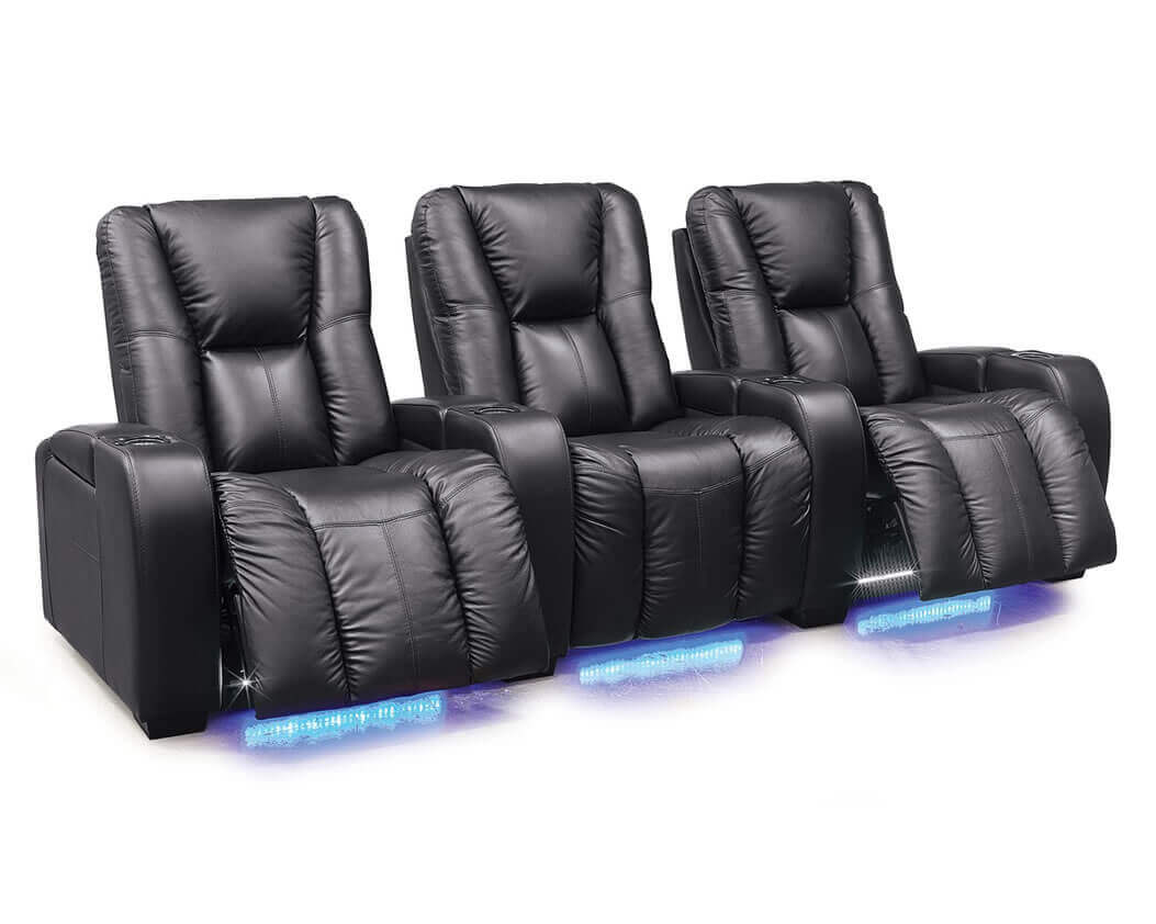 Black leather home theater seating with abundant comfort options covered in top grain leather featuring angled 3-row layout.  sc 1 st  Be Seated Leather Furniture & Home Theater Seating | Be Seated Leather Furniture | Michigan islam-shia.org