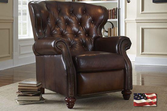 brown leather designer recliner