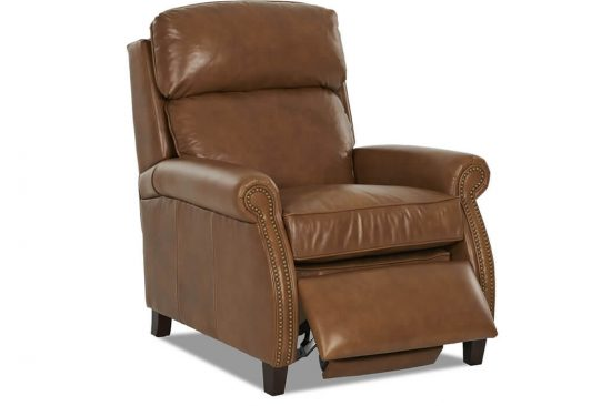 Traditional-leather-power-recliner-nailheads-brown-Michigan