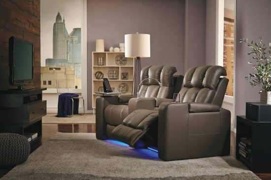 leather home theater seating with power headrest
