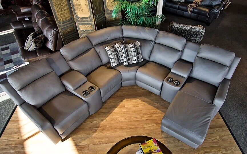 Contemporary reclining chaise sectional in grey top grain leather has it all u2013 recliners chaise power storage cup-holder are all optional and in your ... & Reclining Leather Sectionals | Be Seated Leather Furniture islam-shia.org