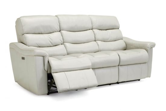 White-Leather-top-grain-reclining-sofa