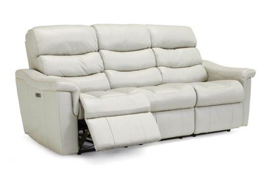 White-Leather-top-grain-reclining-sofa