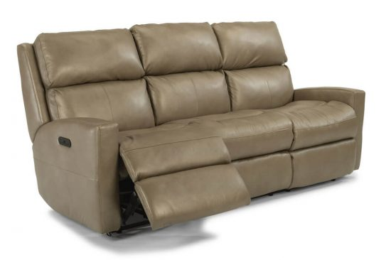 Transitional-brown-leather-reclining-sofa