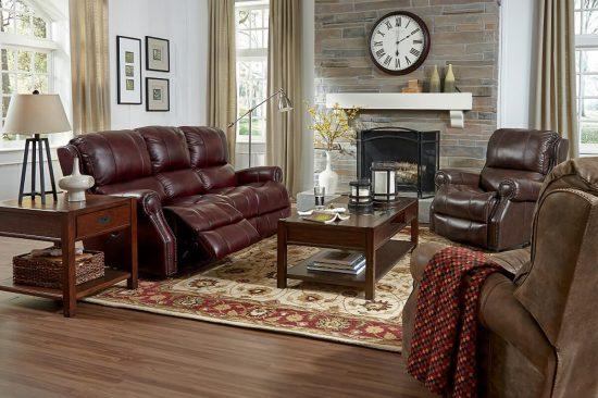 Flexsteel-Traditional-nailhead-reclining-leather-sofa