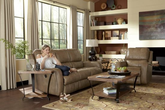 Flexsteel-brown-natural-leather-sofa-sectional