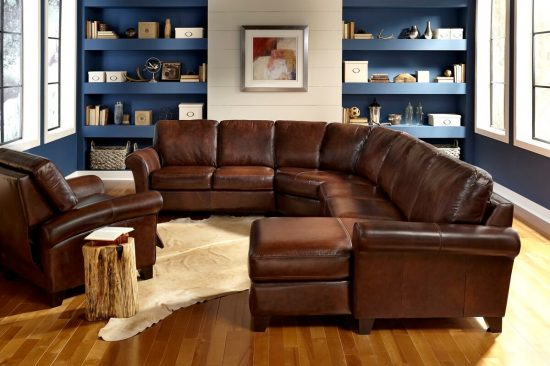 transitional-brown-leather-sectionals-michigan