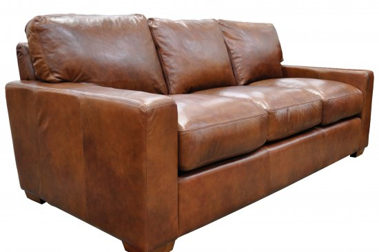 American Made Brown Leather Sofa Brown