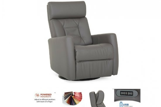 grey-leather-power-recliner-swivel-Michigan