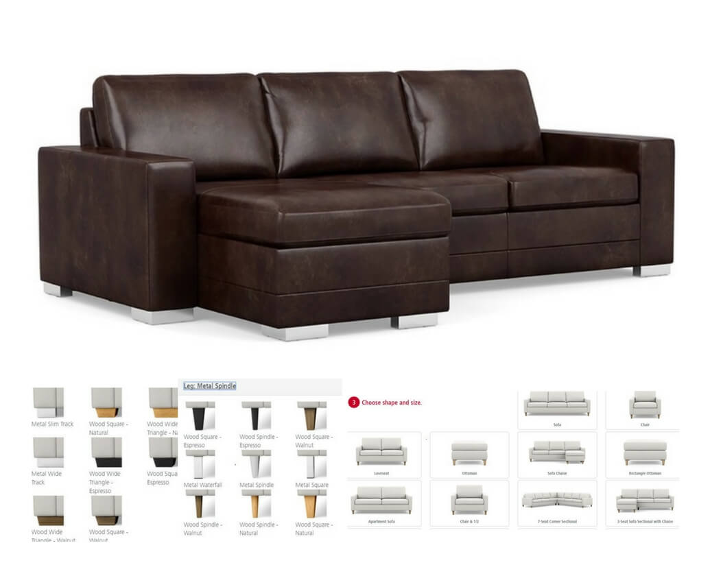 Brown Leather Sectional Sofa Chaise Lounge Michigan Best Quality