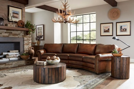 conversation angled leather sectional