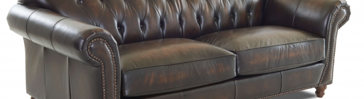 Classic Leather Sofa Tufted Back Buttons 2